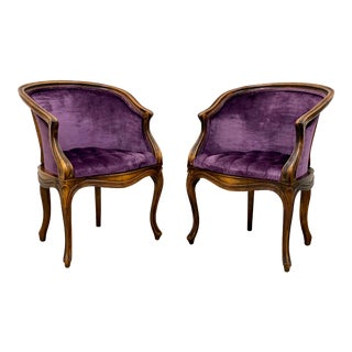 Late 19th Century Louis XV Stained Beech Bergere Accent Chairs - a Pair For Sale