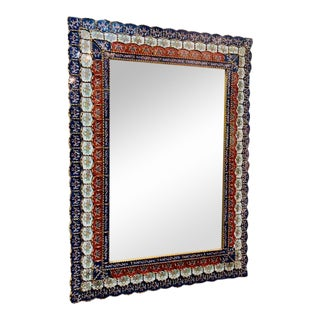 Vintage Spanish Colonial Hand-Carved Wall Mirror With Reverse Glass Painted Mosaic Tiles For Sale