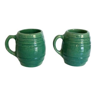 Vintage 1920s Nelson McCoy Pottery Stoneware Barrel Mugs- a Pair For Sale