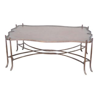 Ashford Iron & Leather Coffee Table For Sale