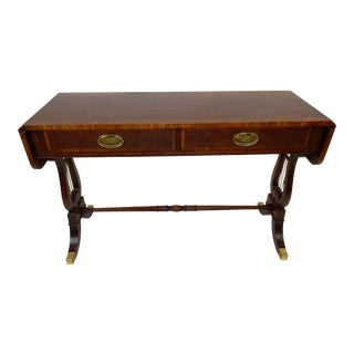 Baker Furniture Regency Style Inlaid Banded Mahogany Drop Leaf Console/ Sofa Table