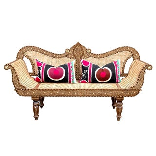 Extraordinary Bone Inlay Settee Bench For Sale
