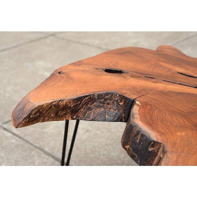 Mid Century Modern Live Edge Coffee Table With Hairpin Legs For Sale - Image 4 of 10