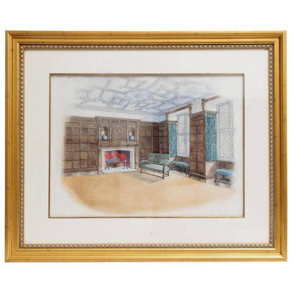 English Interior Watercolor Scene For Sale - Image 3 of 3