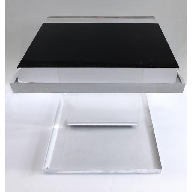 Modern Custom Lucite Side Table With Removable Black Acrylic Sleeve For Sale - Image 3 of 7
