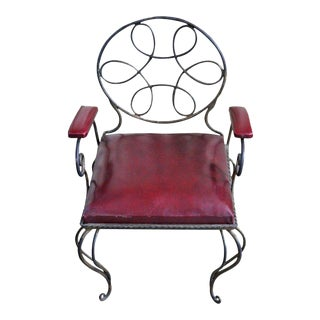 Unusual and Ornate Wrought Iron Armchair For Sale