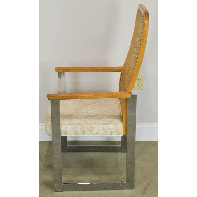 White Milo Baughman for Lane Mid Century Modern Set 6 Cane Back Chrome Dining Chairs For Sale - Image 8 of 12