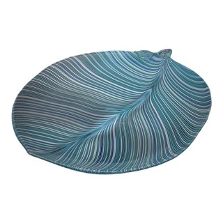 Vintage Tyra Lundgren for Venini Murano Glass Large Leaf-Shaped Plate For Sale
