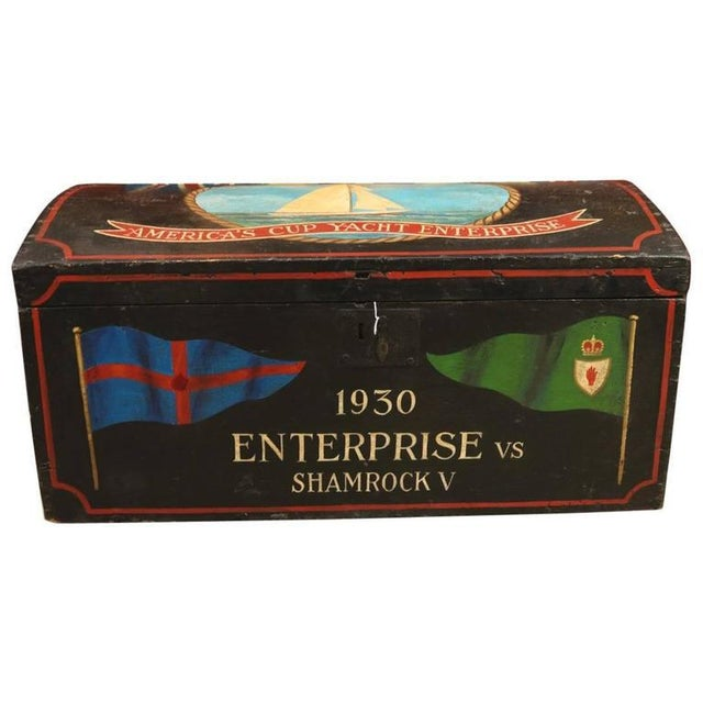 Painted Sea Chest With Dome Top For Sale - Image 4 of 4