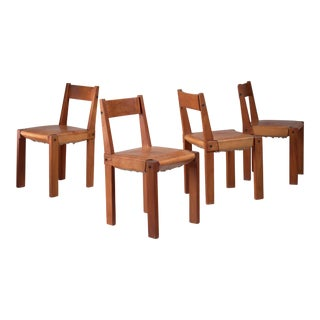 Pierre Chapo Set of Four Elm and Leather Dining Chairs, France, 1960s For Sale