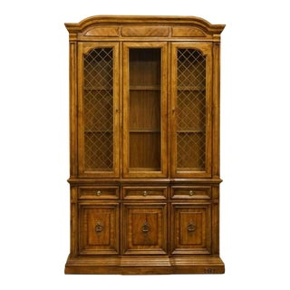 "20th Century Italian Stanley Furniture Tuscan Villa Fruitwood 50"" China Cabinet For Sale"