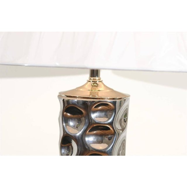 Pair of Modern Ceramic Tornado Lamps with Nickel and Lucite Accents For Sale In Atlanta - Image 6 of 10