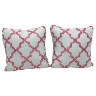 Schumacher Fabric Pink Trellis Pillow - Pair