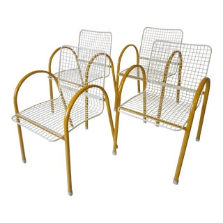 Italian Memphis Stacking Wire Dining Chairs by Emu - Set of 4 For Sale