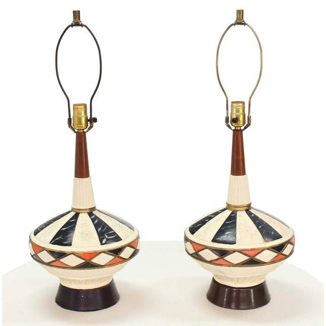 Pair of Walnut and Art Pottery Table Lamps For Sale In New York - Image 6 of 7