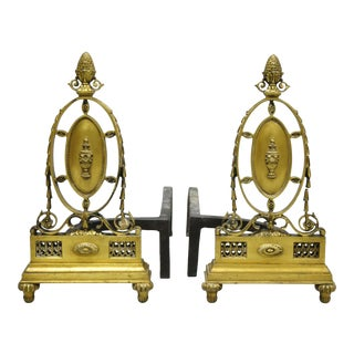 French Empire Sheraton Style Brass Bronze Urn Acorn Fireplace Andirons - a Pair For Sale