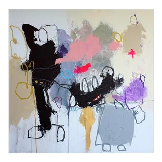 """Contemporary Abstract Painting """"Thinking About You"""" by Nadine Bourgne For Sale"""