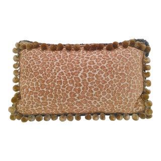Designer Cheetah Print Velvet Pom Pom Trim Lumbar Pillow For Sale