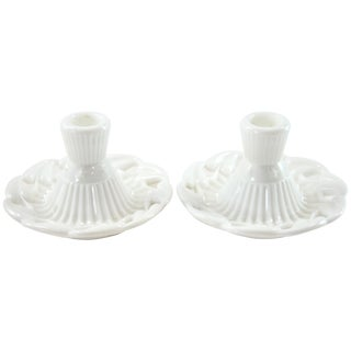 Fostoria Open Work Candle Holders - a Pair For Sale