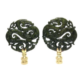 Chinoiserie Style Deep Olive Lamp Finials - a Pair