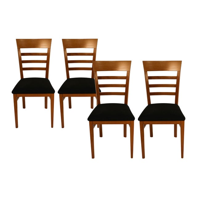 Spectacular set of four Italian ladder-back dining side chairs by A. Sibau featuring sturdy, solid construction design....