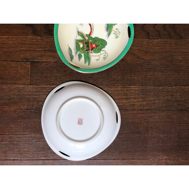 Midcentury Pair of Chinoiserie Noritake Triangular Plates With Handles For Sale - Image 10 of 13
