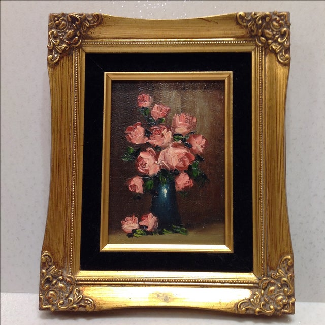 """""""Pink Roses"""" Vintage Still Life Oil Painting - Image 2 of 7"""