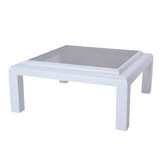 Schumacher White Grasscloth Coffee Table With Smoked Glass For Sale
