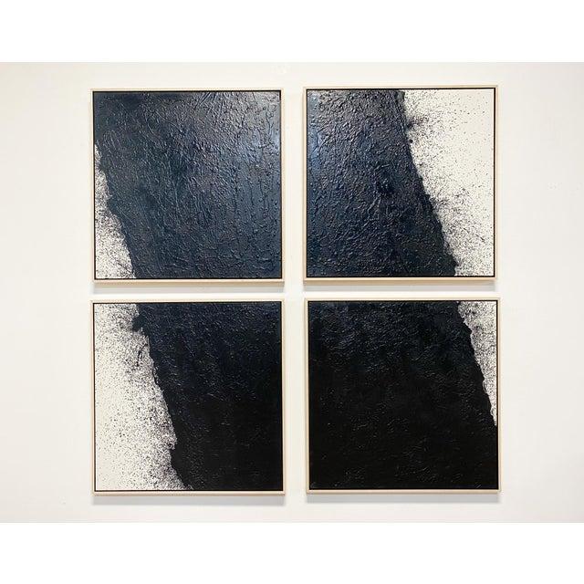 "Black John O'Hara ""Tar, 46 (Decontructed)"" Encaustic Painting, 4 Panels For Sale - Image 8 of 8"
