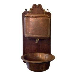 Antique French Wall Mount Oak and Copper Lavabo Wall Fountain For Sale