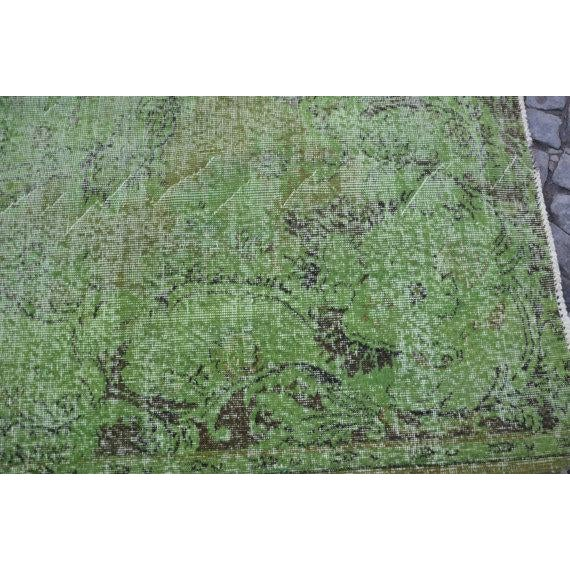 Vintage Handwoven Turkish Green Oushak Carpet - 5′4″ × 9′2″ - Image 4 of 6