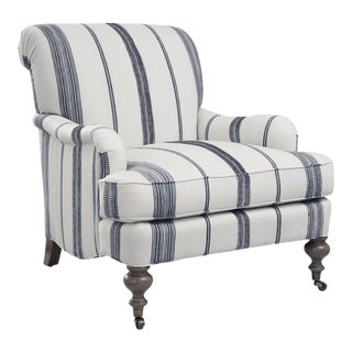 Chatsworth Chair in Aiden Natural with Navy For Sale