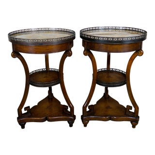 Pair of French Walnut Marble Top 3-Tiered Leather Embossed Tables