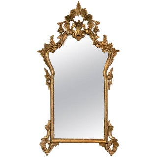 Italian Giltwood and Gesso Frame Hanging Wall or Console Mirror For Sale