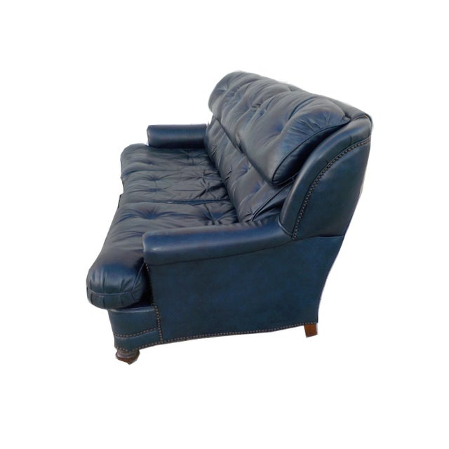 Vintage Tufted Blue Leather Chesterfield Sofa - Image 5 of 7