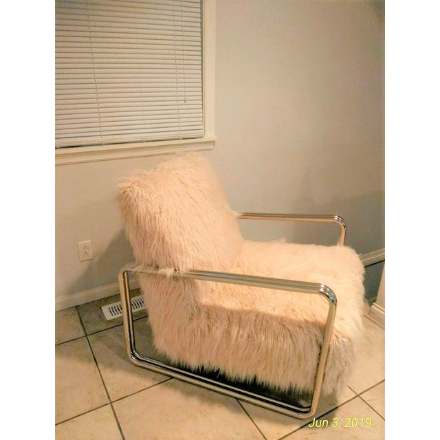 Metal Faux Fur Chair For Sale - Image 7 of 8