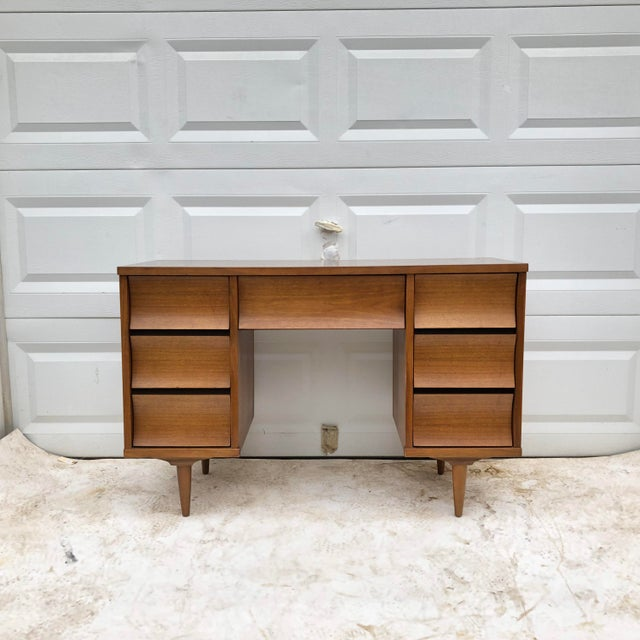 1970s Mid-Century Modern Curved Front Writing Desk For Sale - Image 5 of 13