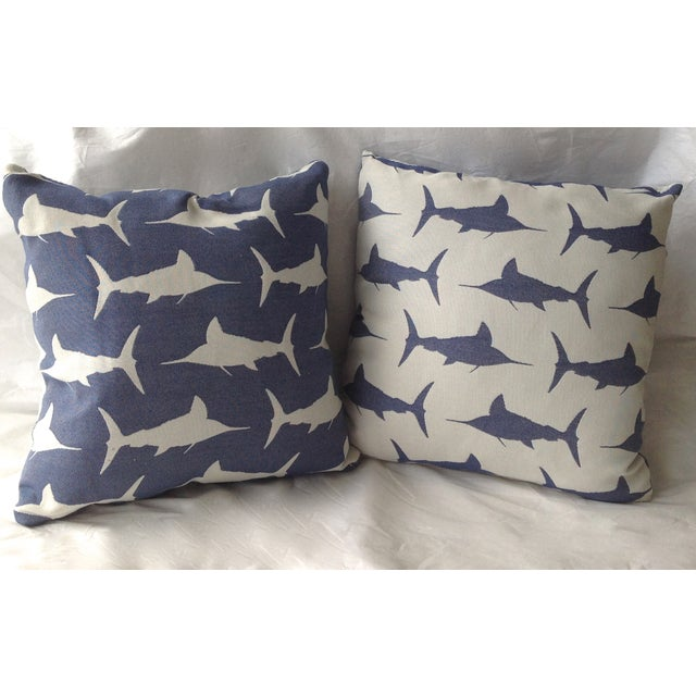 Textile Marlin Indoor/Outdoor Pillows - A Pair For Sale - Image 7 of 8