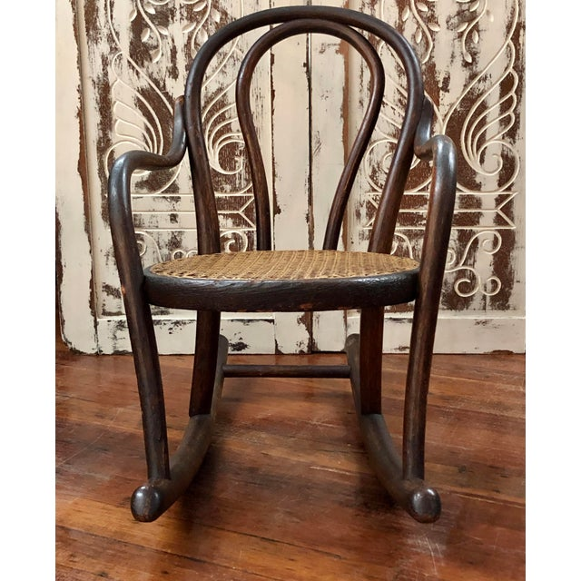 Brown Late 20th Century Vintage Thonet Bentwood Childs Cane Set Rocker For Sale - Image 8 of 13