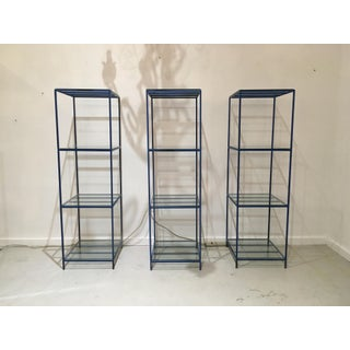1960s French Blue Metal Shelves With Glass - Set of 3 Preview