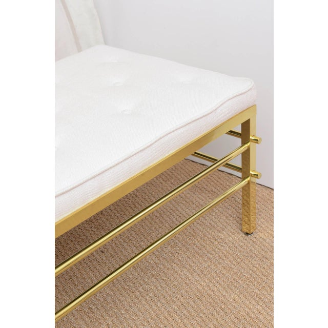 Stunning Tommi Parzinger Style Solid Brass and Upholstered Rare Modernist Bench - Image 7 of 9
