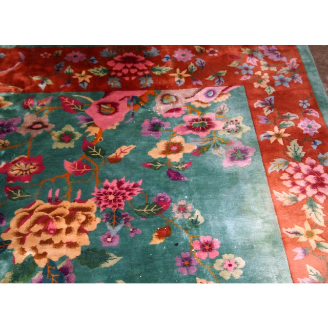 1920s, Handmade Antique Art Deco Chinese Rug 8.10' X 11.6' For Sale - Image 4 of 11