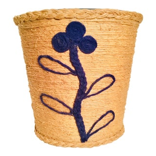 Vintage Flower Design Twine Rope Wrapped Bucket/Container For Sale