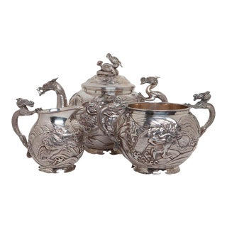 Chinese Export Sterling Silver Tea Set - 3 Pieces For Sale
