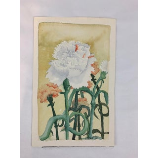 Late 20th Century Carnations Signed Floral Watercolor Painting Preview