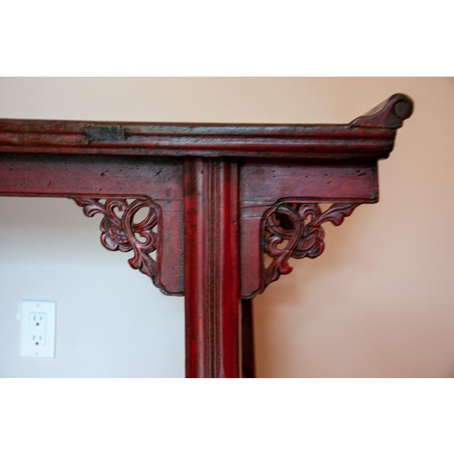 Chinese Chinese Red Altar Console Table For Sale - Image 3 of 13