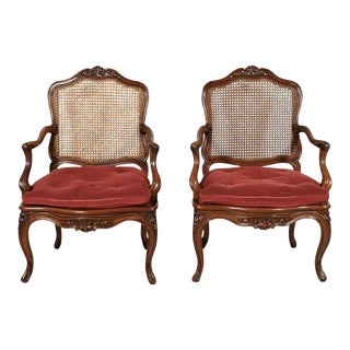Pair of 19th Century Country French Louis XV Style Walnut and Cane Armchairs For Sale