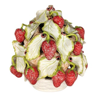 20th Century Italian Majolica Strawberry Topiary Centerpiece For Sale