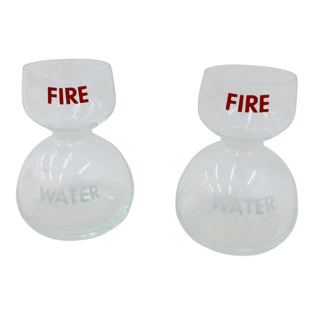 Vintage Fire Water Glasses - A Pair For Sale