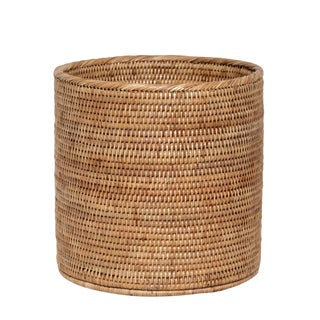 Artifacts Rattan Round Waste Basket For Sale